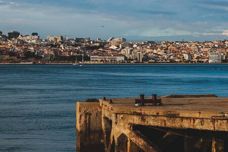 The view from Cacilhas pier to Lisbon, Portugal, Tagus river