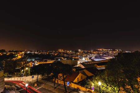 Panoramic view over Lisbon at night, Portugal 写真素材