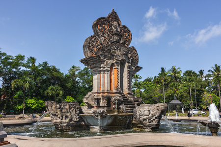 A fountain in a roundabout with Hindu statues, bali, indonesia