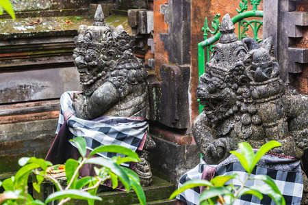 Two Ancient Balinese statue, religion, hinduism, bali, indonesia