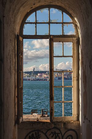 The view from Cacilhas to Lisbon, on the river Tagus, Portugal