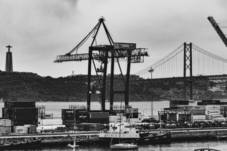 The Alcantara docks are an important port of Lisbon, Portugal Stock Photo