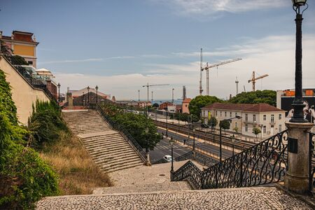 Stairs from one of the many viewpoints in Alcântara. Lisbon, Portugal Stock Photo