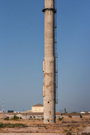Old chimney of Barreiro factories, Portugal Stock Photo