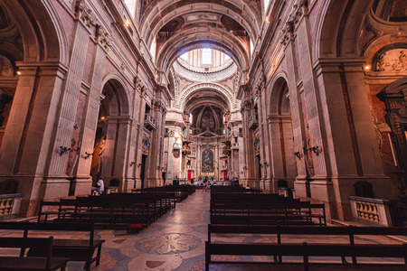 The Convent of Mafra in Mafra, in the district of Lisbon, in Portugal. It is composed of a monumental palace and monastery