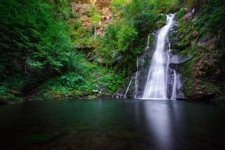 The waterfall and large pool of Vieiros, Quiroga, Courel, Galicia