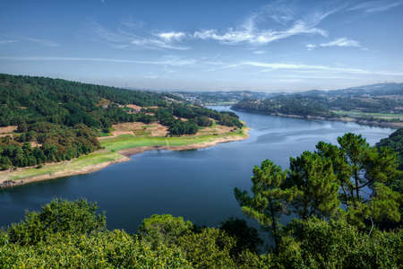 Minho river passing through the city of Portomarin, in the way of Santiago, Galicia