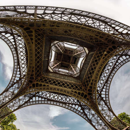 the famous Eiffel Tower view from below, Paris, France