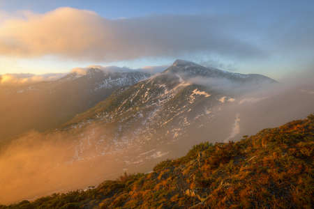 Beautiful Morning Light In Mountains Jagged in Fog in Ancares mountain Range Galicia