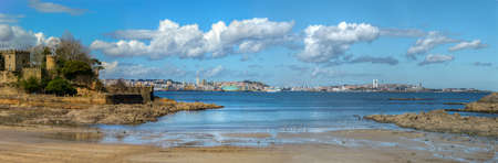 The Castle and the beach of Santa Cruz, with the city of A Coruña in the background, Galicia Galicia Archivio Fotografico