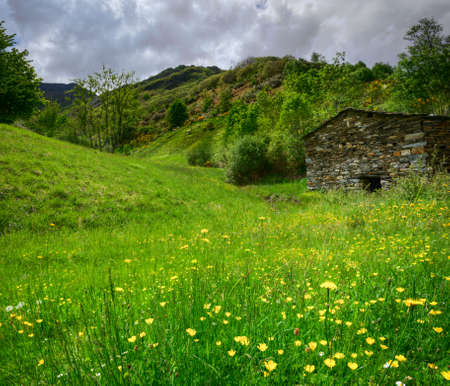 Old stone house in the flowery meadows at the foot of the mountains, in the Courel mountain range, Galicia