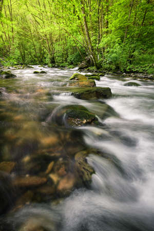 Jumping waters between large boulders in the Lor river in the Courel Mountains Geopark in Galicia Banco de Imagens
