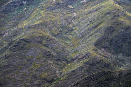 Geological strata on the slopes are observed when the vegetation cover is lost due to the summer fires in the Courel Mountain Range in Galicia Banco de Imagens