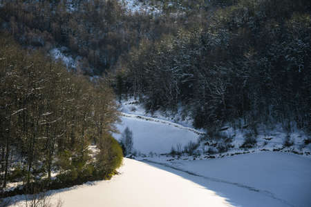 Snowy meadows while a weak winter sun melts the snow on the bare branches of the trees in Oribio Triacastela Galicia