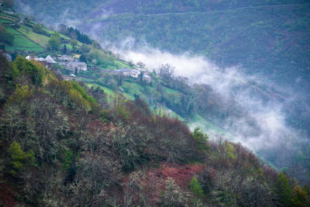 A mountain village wakes up in the mist at the end of winter in Ancares Cervantes Galicia
