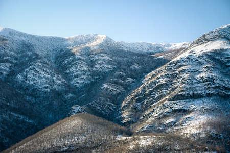 Snowy north slope of a mountain range in Serra do iribio triacastela galicia