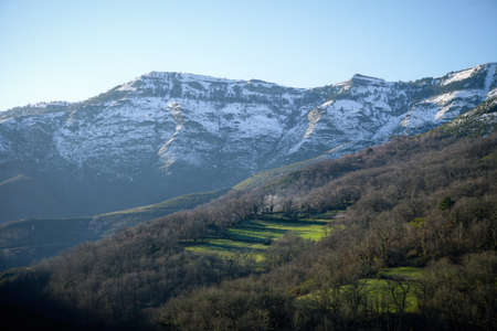 Last snows at the end of winter on the north face of the mountains in Courel Mountais Geopark in Galicia Banco de Imagens