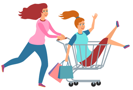 Vector racing on the shopping trolley Cartoon Illustration. Women shopping. Two girls playing together, riding supermarket cart. Fun together in modern supermarket Ilustração