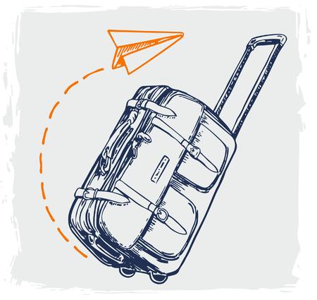 Travel concept vector illustration in sketch style design. Airplane flying above tourister luggage. Vacation background. Ilustração