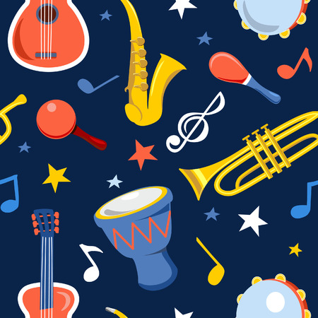 Musical instruments vector seamless pattern on a dark background. Pattern with guitar, saxophone, drum, trumpet and maracas. Vector illustration