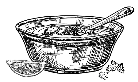 Vector hand drawn restaurant stuff Illustration. Detailed retro style soup image. Vintage sketch element for labels, packaging and cards design.