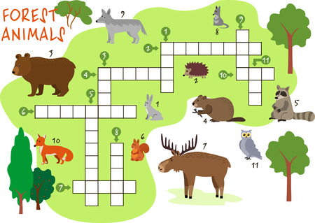 Animals crossword. Forest animals. Book puzzle crossword game with forest animals vector illustration Ilustração