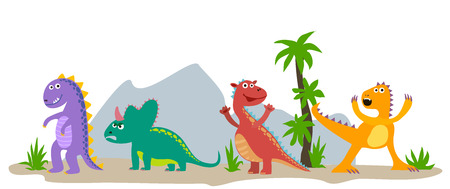 Dinosaurs. Cartoon emotional dinosaurs vector isolated on white background. Illustration of dino, jurassic predator, comic prehistoric reptile.