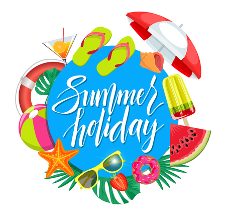Vector summer background with holiday elements. Summertime traveling pattern with beach summer accessories, vector illustration. Ilustração