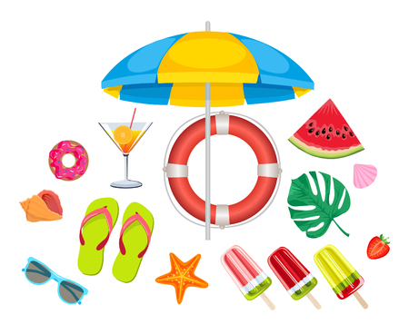 Summer beach, set of vector icons. Set of cute summer icons. Summer time in beach sea objects. Bright summertime poster.