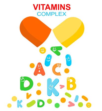 Vitamin complex of pill capsule and vitamins Ilustração