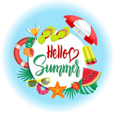Summer banner with Hello Summer lettering. Happy colorful concept for Summer Season. Vector Illustration