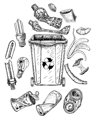 Trash set Sketch. Different types of garbage.