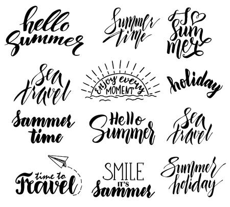 Summer hand drawn brush letterings. Summer badge set.