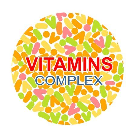 Vitamin complex. Different vitamins in pills. Vector