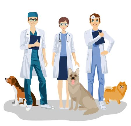 Veterinarian team with cute dogs care for vet clinic vector illustration