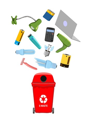 Garbage can with e-waste elements, vector illustration. Imagens - 124560426