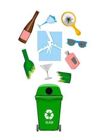 Garbage can with glass garbage elements, illustration Illustration