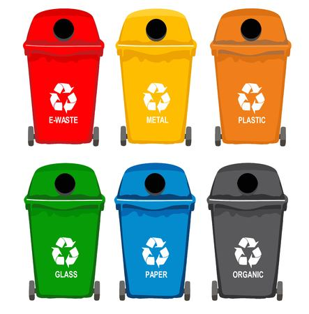 Trash in garbage cans with sorted garbage icons Illustration