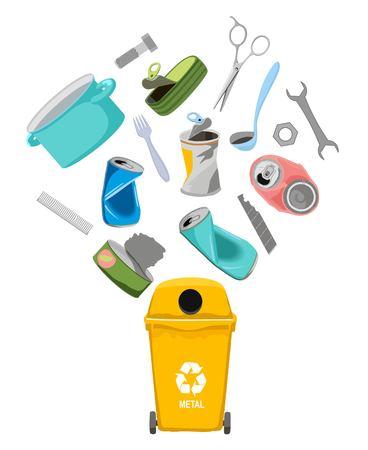Sort garbage. Garbage can with metal garbage elements, vector illustration. Metal trash, garbage separation illustration.