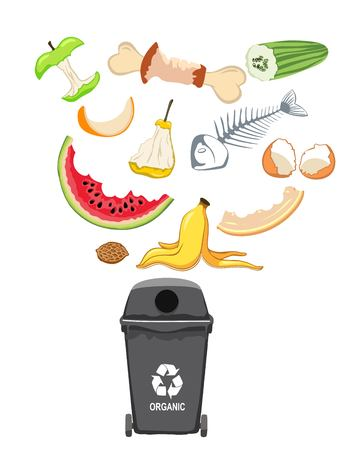 Garbage can with organic elements, vector illustration.