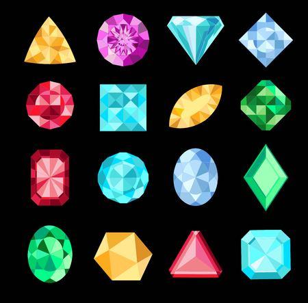 Set of fantasy jewelry gems, stone for game. Diamond or brilliants Ilustração