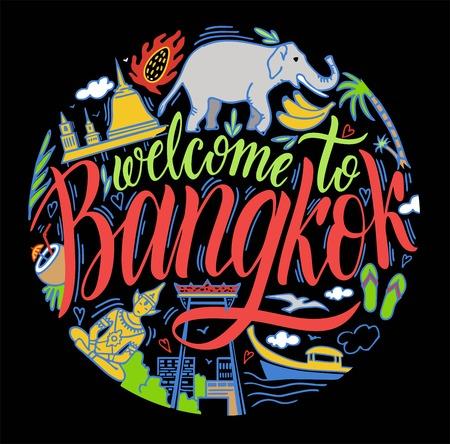 Bangkok, Thailand and Landmarks, Travel Attraction. Color Stock Vector - 124615483