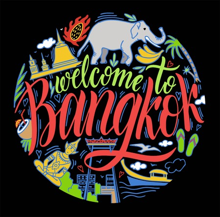 Bangkok, Thailand and Landmarks, Travel Attraction. Color
