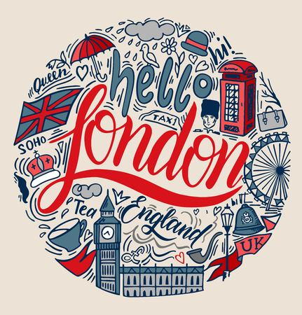 London. Modern vector illustration with famous english symbols and attractions in a circle composition for travel card, poster, print design, t-shirt design. Handdrawn conceptual illustration. Ilustração