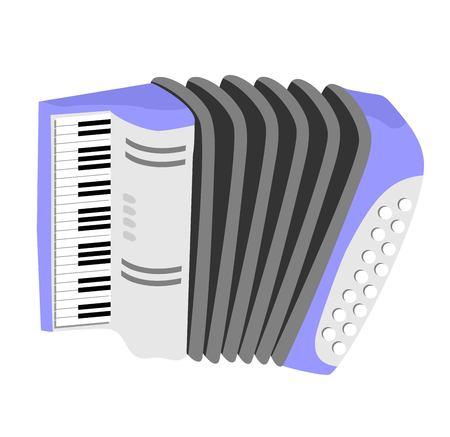 Accordion, harmonic, jew s-harp. Accordion flat icon isolated Ilustração
