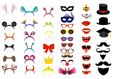Vector face masks. Photo Booth party elements Illustration