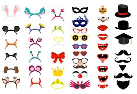Vector face masks. Photo Booth party elements Ilustração