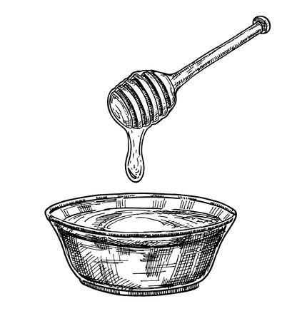 Assiette en verre dessinée à la main pleine de miel isolée sur blanc. Croquis de vecteur pour la ferme d'apiculture et d'apiculture. Esquisser. Produit naturel doux d'abeille. Miel dégoulinant de louche de miel en bois Vecteurs