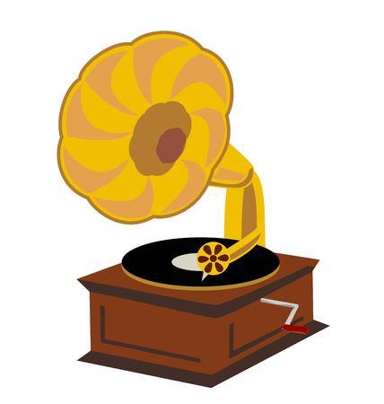 Old gramophone isolated on a white background. Vector flat illustration. Playing music. Vektorgrafik