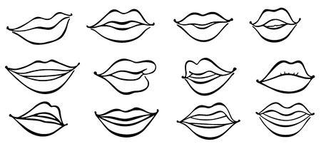 Illustration of lips girlish collection, vogue female